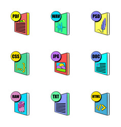 Download file icons set cartoon style vector