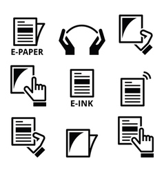 E-paper e-ink technology display device icons set vector image