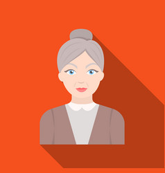 Elderly womanold age single icon in flat style vector