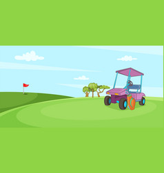 Field of golf horizontal banner cartoon style vector