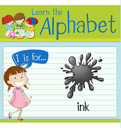 Flashcard letter i is for ink vector