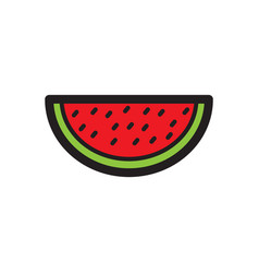 flat color watermelon icon vector image vector image