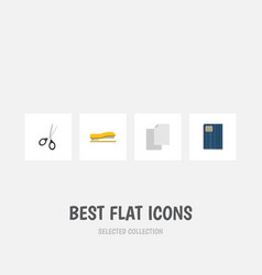 flat icon stationery set of supplies sheets vector image vector image
