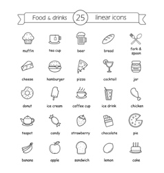 Food and drinks linear icons set with signs vector image