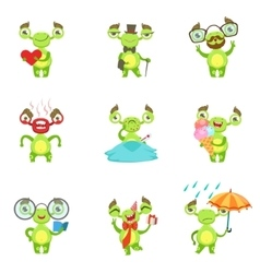 Green alien character different emotions and vector