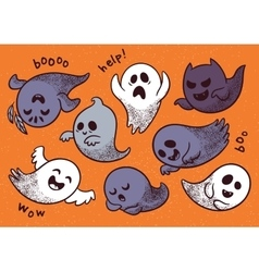 Halloween set with various spooky ghosts vector