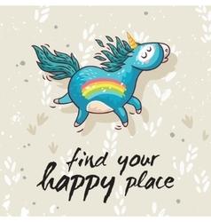Happy card with cute unicorn cartoon vector
