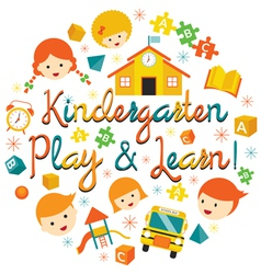 Kindergarten preschool kids heading vector