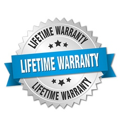 Lifetime warranty 3d silver badge with blue ribbon vector