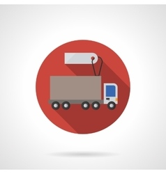 Lorry for sale red round flat color icon vector image vector image