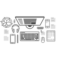 mobile programming isolated icon set vector image