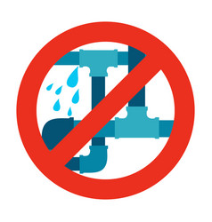 No water leak pipe icon sign vector