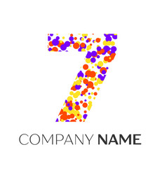 Number seven logo with purple yellow particles vector
