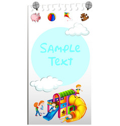 Paper template with kids playing slide vector