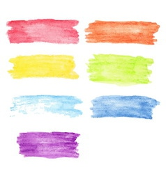 Rainbow watercolor stains set vector image