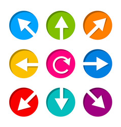 Set of white arrow icon in circle vector