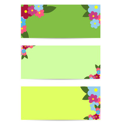 Three posters with colorful flowers and green leaf vector