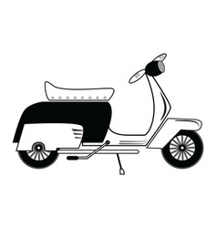 Vintage scooter type 1 in black and white vector