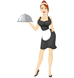 Waitress brings the order vector image