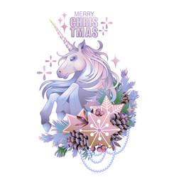 With unicorn and coniferous decorations vector