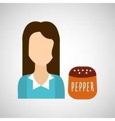 Girl with pepper icon vector