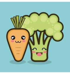 Vegetables cartoon carrot and broccoli graphic vector