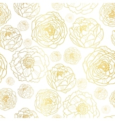 Golden on white peony flowers summer vector