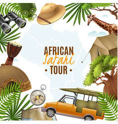Safari realistic with accessories frame vector