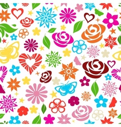Seamless pattern of multicolored flowers vector