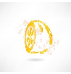 Half lemon grunge icon vector