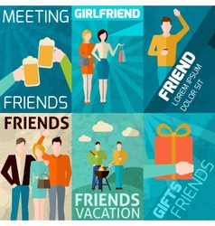 Friends mini poster set vector