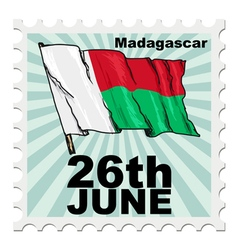 Post stamp of national day of madagascar vector