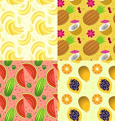 Set of seamless pattern with tropical fruit vector