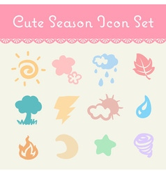 Cute pastel season and element cartoon icon set vector