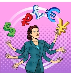 Businesswoman juggling money business concept vector