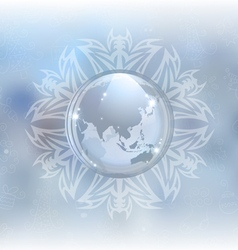 Snow globe with map vector