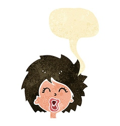 Cartoon woman screaming with speech bubble vector