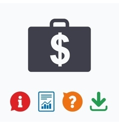 Case with dollars usd sign briefcase button vector