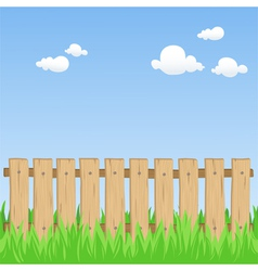 spring field with fence vector image