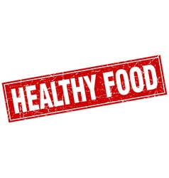 Healthy food red square grunge stamp on white vector