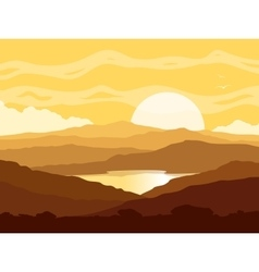Mountain landscape with yellow sunset vector image