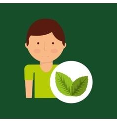Boy cartoon save earth icon leaf plants vector