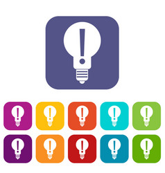 Bulb with exclamation mark inside icons set flat vector