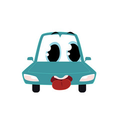 Cartoon comic style car character wih human face vector