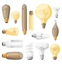 Cartoon lamps light bulb electricity design flat vector