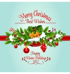 Christmas tree garland holiday poster design vector image