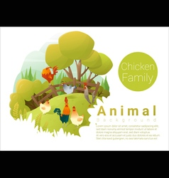 Cute animal family background with chickens 2 vector