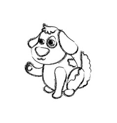dog cartoon drawing sitting vector image vector image