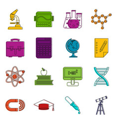 education icons doodle set vector image
