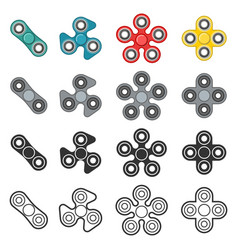 fidget spinner toy color and line icon set vector image vector image
